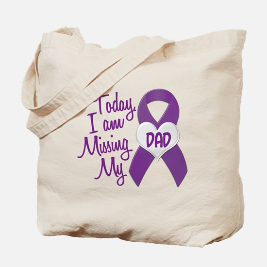 Missing My Dad 1 PURPLE Tote Bag