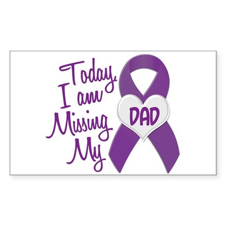 Missing My Dad 1 PURPLE Rectangle Sticker
