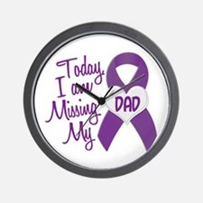 Missing My Dad 1 PURPLE Wall Clock