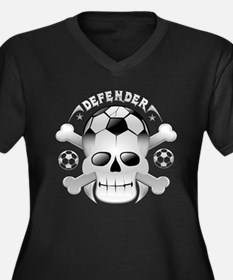Socccer skull Women's Plus Size V-Neck Dark T-Shir