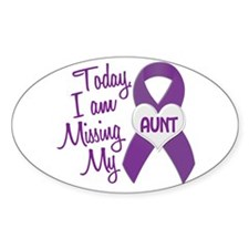 Missing My Aunt 1 PURPLE Oval Decal