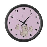 Three Kitties Large Wall Clock