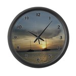 Fishing Boats Large Wall Clock