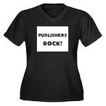 Publishers ROCK Women's Plus Size V-Neck Dark T-Sh