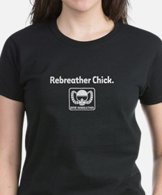 Rebreather Chick on Black Tee