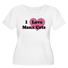 Pink Heart Manx Cats T-Shirt