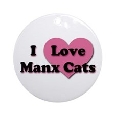 Pink Heart Manx Cats Ornament (Round)