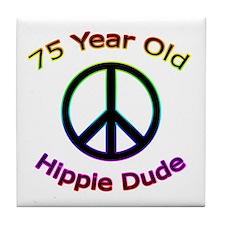 Hippie Dude 75th Birthday Tile Coaster