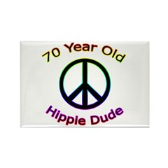 Hippie Dude 70th Birthday Rectangle Magnet (10 pac