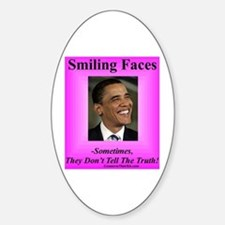 """Smiling Faces"" Oval Decal"