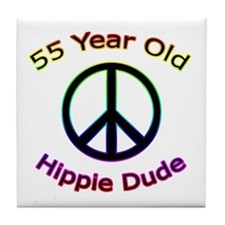 Hippie Dude 55th Birthday Tile Coaster