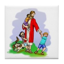 Jesus & The Children Tile Coaster