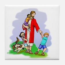 Jesus & The Children Tile Coaster