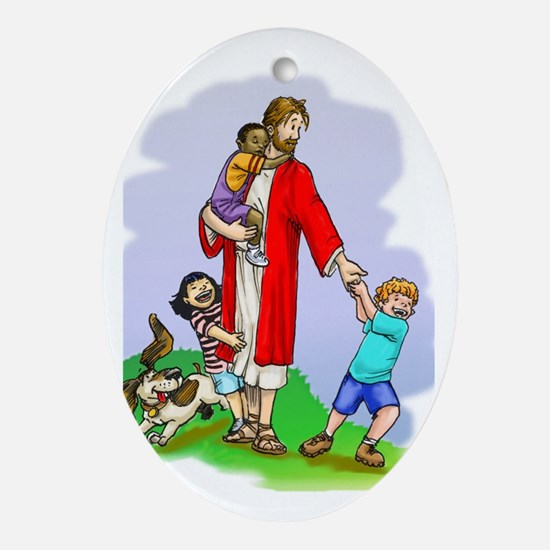 Jesus & The Children Oval Ornament