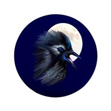 """Manic Raven with Moon 3.5"""" Button (100 pack)"""
