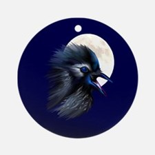 Manic Raven with Moon Ornament (Round)