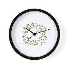 Leafy Wreath Wall Clock