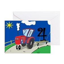 4th Birthday Tractor Greeting Card