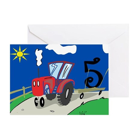 5th Birthday Tractor Greeting Card