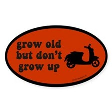 Don't Grow Up Red Oval Decal