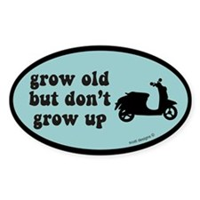 Don't Grow Up Blue Scooter Oval Stickers