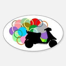 Retro Scooter Oval Decal