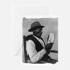 Old Man Reading Greeting Card