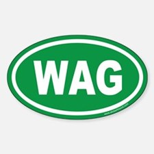 WAG the Dog Green Euro Oval Decal