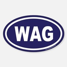 WAG the Dog Blue Euro Oval Decal
