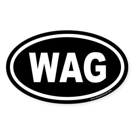 WAG the Dog Black Euro Oval Sticker