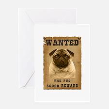 """Wanted"" Pug Greeting Card"