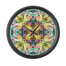 Four Flower Kaleidoscope Large Wall Clock