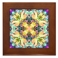 Four Flower Kaleidoscope Framed Tile