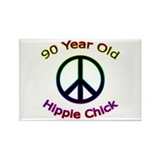 Hippie Chick 90th Birthday Rectangle Magnet