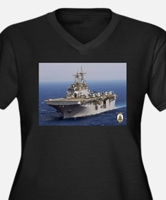 USS Wasp LHD 1 Women's Plus Size V-Neck Dark T-Shi