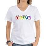 Vote with Pride - OBAMA Women's V-Neck T-Shirt