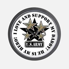 Dad Kids Army Love Support Wall Clock