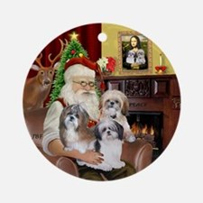 Santa & his 3 Shih Tzus Ornament (Round)