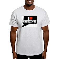 I Love Connecticut Ash Grey T-Shirt