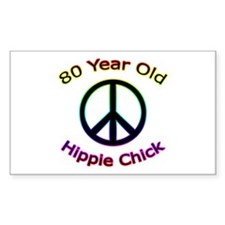 Hippie Chick 80th Birthday Rectangle Decal
