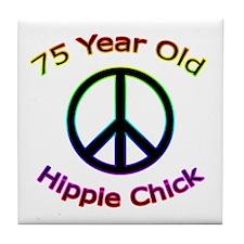 Hippie Chick 75th Birthday Tile Coaster