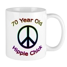 Hippie Chick 70th Birthday Small Mug