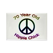 Hippie Chick 70th Birthday Rectangle Magnet