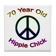 Hippie Chick 70th Birthday Tile Coaster