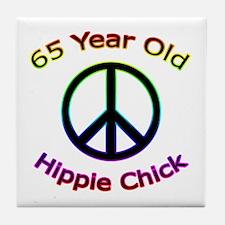 Hippie Chick 65th Birthday Tile Coaster