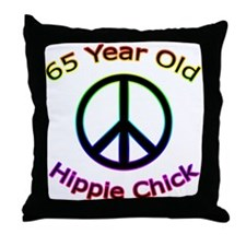 Hippie Chick 65th Birthday Throw Pillow