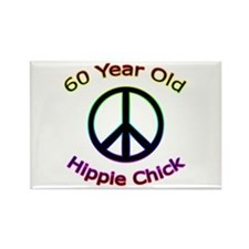 Hippie Chick 60th Birthday Rectangle Magnet