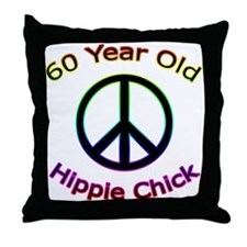 Hippie Chick 60th Birthday Throw Pillow