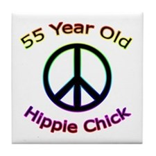 Hippie Chick 55th Birthday Tile Coaster