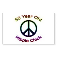 Hippie Chick 50th Birthday Rectangle Decal